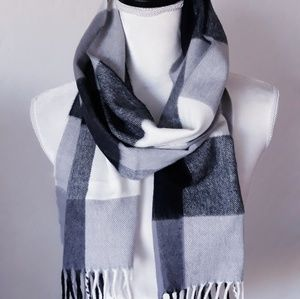 Gray White and Black Scarf
